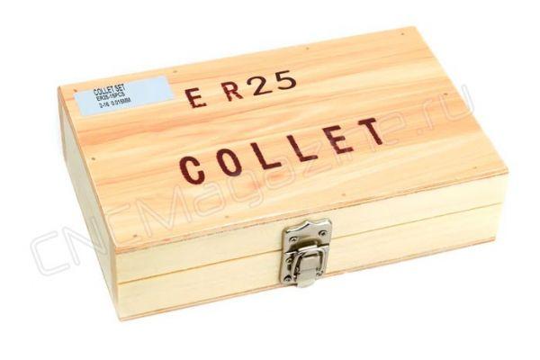 ER25-15 pcs набор цанг стандартной точности в деревянном кейсе