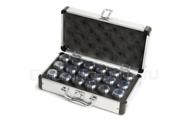 ER32-18 набор цанг стандартной точности в металлическом кейсе